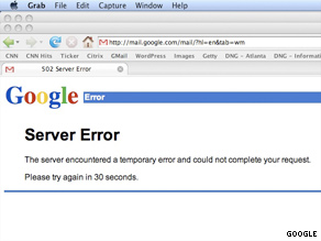 Many Gmail users encountered this error message Tuesday afternoon.