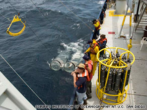 Researchers recover nets from the Pacific Ocean on August 3, 2009.