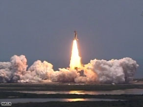 Space shuttle Atlantis launched from Florida Monday on its way to the Hubble telescope.