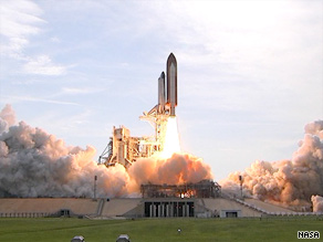 The space shuttle Endeavour lifts off from Kennedy Space Center after five previous delays.