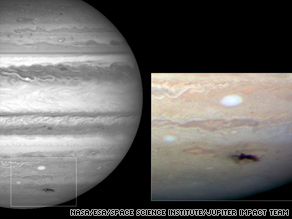 The revamped Hubble telescope captured these images of an impact scar near Jupiter's south pole.