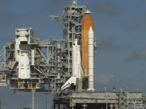 Space shuttle Discovery rests on launch pad 39A at Florida's Kennedy Space Center.