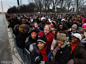 Crowds gather on the Mall in Washington, D.C., on Sunday for a pre-inaugural concert.