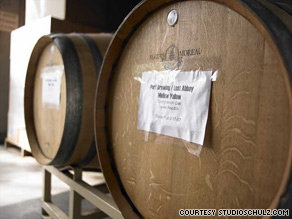 Wooden barrels of beer are just part of the draw at The Lost Abbey Brewery in San Diego, California.