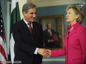 Pakistani Foreign Minister Makhdoom Shah Mehmood Qureshi meets U.S. Secretary of State Hillary Clinton.