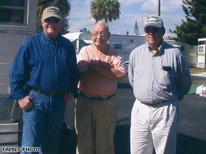 Schur, center, stands with his nephews Jerry, left, and William Walworth in Pompano Beach, Florida, in 2007.