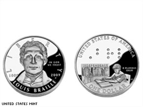 "The coin's ""heads"" side features a portrait of Louis Braille;  the ""tails"" side features a boy reading a book in Braille."