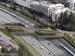 An artist's rendering shows how the proposed bridge would be constructed over a busy highway.