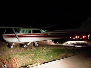 The Cessna 172 aircraft ended up on a road in southern Missouri after a 783-mile journey from Canada.