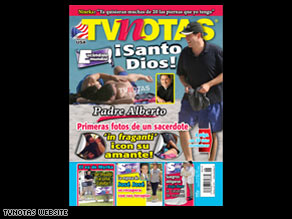 The photos of the Cuban-American priest appeared on the cover of this week's TV Notas magazine.