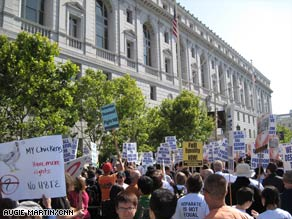 Protesters gather outside the California Supreme Court in San Francisco on Tuesday.