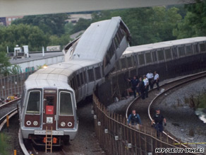Emergency personnel investigate the scene of the Metro train collision in Washington on Monday.