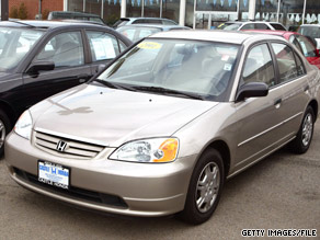 The 2001 Honda Civic is among the vehicles covered by the recall.