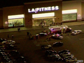 Authorities at the scene of a shooting at an LA Fitness gym.