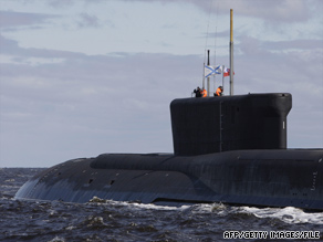 Russian nuclear submarines such as this one have been spotted in the Atlantic Ocean.
