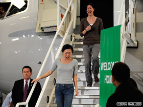 Freed U.S. journalists Laura Ling and Euna Lee said they spent less than a minute on North Korean soil.