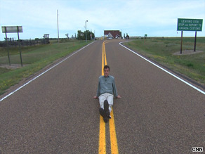 CNN's Drew Griffin in the middle of the very unbusy border station in Scobey, Montana.