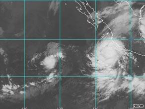A satellite image shows Hurricane Jimena off the coast of Mexico.