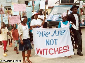 Children branded as witches protest on February 26, 2009, in the southern Nigerian city of Eket.