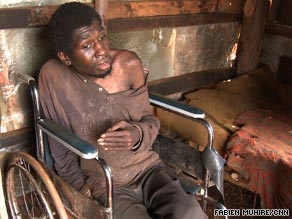 Daniel Mungai is kept locked away in a small wooden shack and has been for 15 years.
