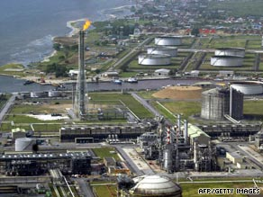 File image of Shell's oil and gas terminal on Bonny Island in southern Nigeria's Niger Delta.