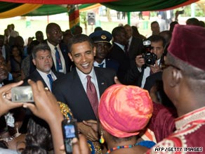 President Obama greets people Saturday during breakfast at Osu Castle in Accra, Ghana.