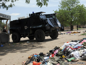 The bodies and clothes of militants lie in a street in the northern city of Maiduguri.