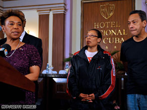 U.S. Rep. Barbara Lee, at left with Reps. Marcia Fudge and Mel Watt, was among those who met with Castro.