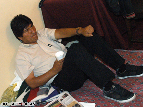 Evo Morales on hunger strike at the presidential palace in Bolivia's capital, La Paz.