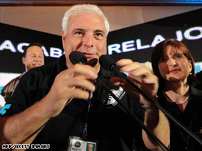 Ricardo Martinelli delivers a victory speech after Panama's presidential election Sunday.