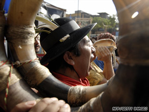 A man shouts slogans at a demonstration in Lima against the Garcia government on June 11.