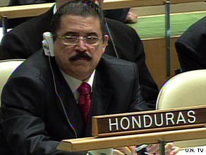 Ousted Honduran President Jose Manuel Zelaya appears Tuesday at the U.N. General Assembly.