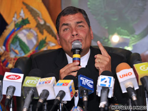 Ecuador's President Rafael Correa, shown in a June photo, says a probe into FARC's claims will clear his name.
