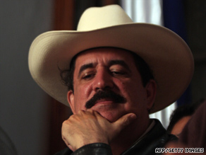 Honduras' ousted President Manuel Zelaya answers questions in Managua, Nicaragua, on Sunday.