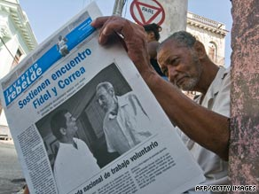 A man in Havana, Cuba, reads a newspaper on Sunday featuring a picture of a healthy-looking Fidel Castro.