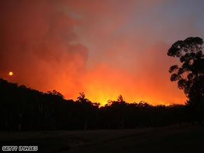Bushfires sweep through Healesville, Victoria on Monday.