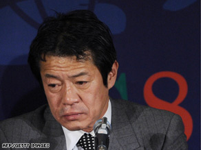 Shoichi Nakagawa gives a press conference at the end of a meeting of G7 finance ministers on Saturday in Rome.