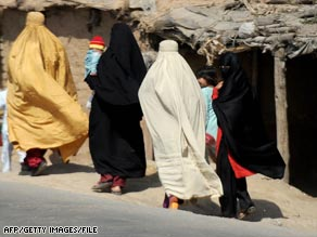 Women wearing burqas in North West Frontier Province.