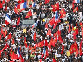 Tamil demonstrators call for a cease-fire in Sri Lanka during a rally Saturday in Paris, France.