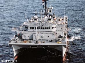 The USNS Victorious is an unarmed ocean surveillance ship operated by a civilian crew.