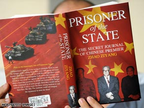 A man in Hong Kong reads the memoirs of former Chinese leader Zhao Ziyang on Thursday.