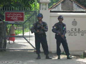 Soldiers guard the entrance to Insein Prison on Monday in Yangon, Myanmar.