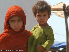 These children are among the thousands of refugees this month at the Jalozai camp in western Pakistan.