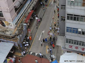 Overview of where acid was thrown from a building in Hong Kong's Mong Kok district.