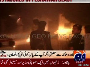 First images from the blast site showed rescuers and emergency services surrounding the hotel.