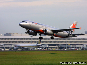 A JetStar passenger jet takes off from Changi Airport in Singapore in this 2007 photo.