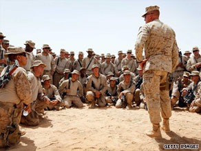 U.S. Marines gather for a briefing in Helmand Province, Afghanistan.