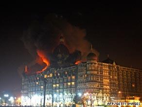Mumbai's Taj Mahal hotel burns during last November's attack by gunmen.