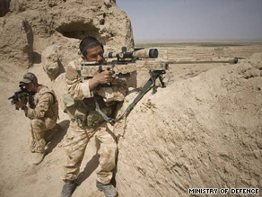 A file image shows a British Royal Marine sniper team on an operation in Afghanistan.