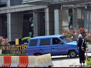 The JW Marriott in Jakarta, Indonesia, which was bombed July 17, is guarded Wednesday.